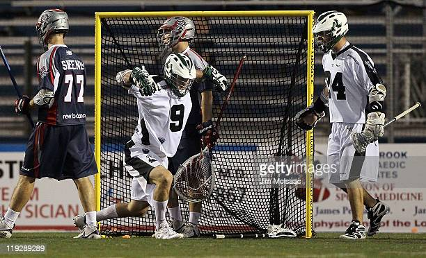 Tim Goettelmann of the Long Island Lizards scores a goal past Jordan Burke of the Boston Cannons during their Major League Lacrosse game on July 16...