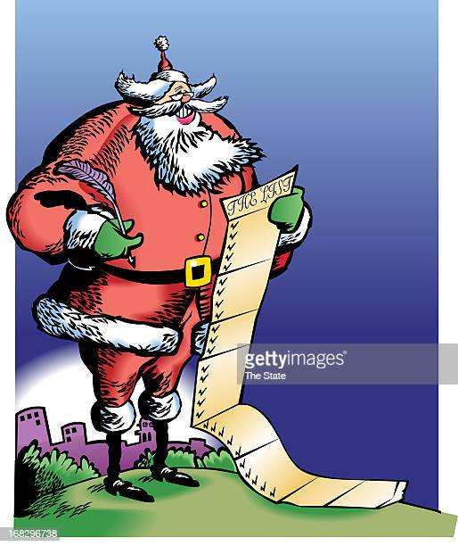 Tim Goheen color illustration of Santa Claus reading a long gift list The State /MCT via Getty Images