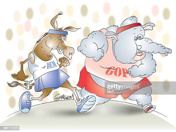Tim Goheen illustration of elephant and donkey racing can be used with coverage of US elections