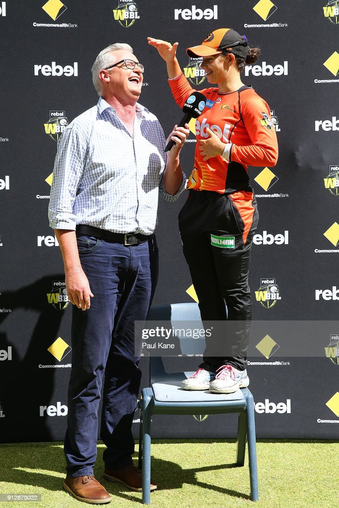 Tim Gossage interviews Nicole Bolton of the Scorchers after winning the Women's Big Bash League semi final match between the Sydney Thunder and the Perth Scorchers at Optus Stadium on February 1, 2018 in Perth, Australia.