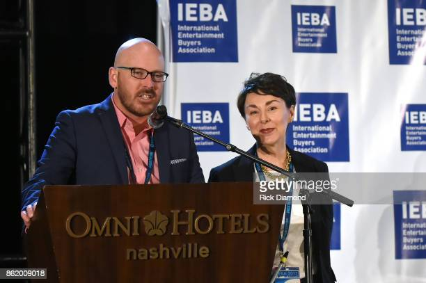 Tim Gray and Pam Matthews speak onstage on the Agents Power Panel during the IEBA 2017 Conference on October 16 2017 in Nashville Tennessee