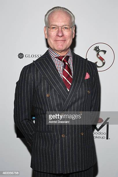 Tim Gunn poses backstage at the Mongol fashion show during Mercedes-Benz Fashion Week Fall 2015 at The Theatre at Lincoln Center on February 13, 2015...