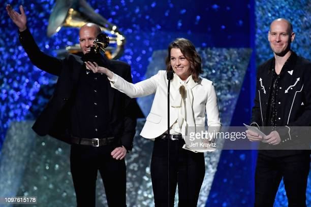 Tim Hanseroth Brandi Carlile and Phil Hanseroth accept award for Best American Roots Song for 'The Joke' onstage at the premiere ceremony during the...