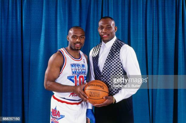Tim Hardaway and Mitch Richmond of the Western Conference AllStars poses for a portrait during the 1993 NBA AllStar Game on February 21 1993 at the...