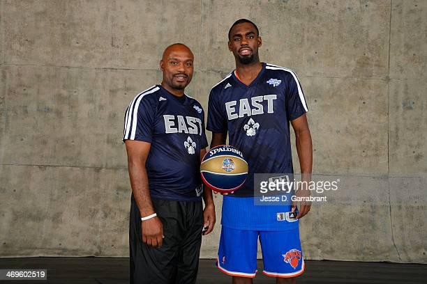 Tim Hardaway and Tim Hardaway Jr poses for a portrait prior to the Sears Shooting Stars Competition as part of the 2014 State Farm Saturday Night on...