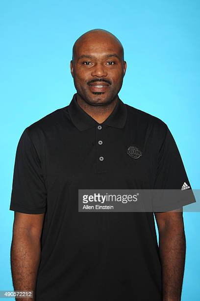 Tim Hardaway assistant coach of the Detroit Pistons poses during media day on September 28 2015 at The Palace of Auburn Hills in Auburn Hills...