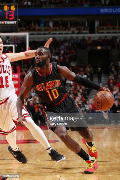 Tim Hardaway Jr #10 of the Atlanta Hawks drives to the basket against the Chicago Bulls during the game on April 1 2017 at the United Center in...