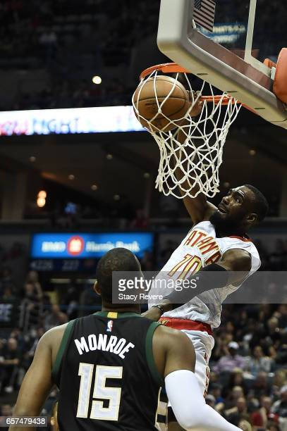 Tim Hardaway Jr #10 of the Atlanta Hawks dunks against the Milwaukee Bucks during the first half of a game at the BMO Harris Bradley Center on March...