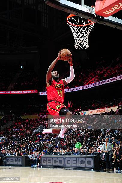 Tim Hardaway Jr #10 of the Atlanta Hawks goes up for a dunk during a game against the New York Knicks on January 29 2017 at Philips Arena in Atlanta...