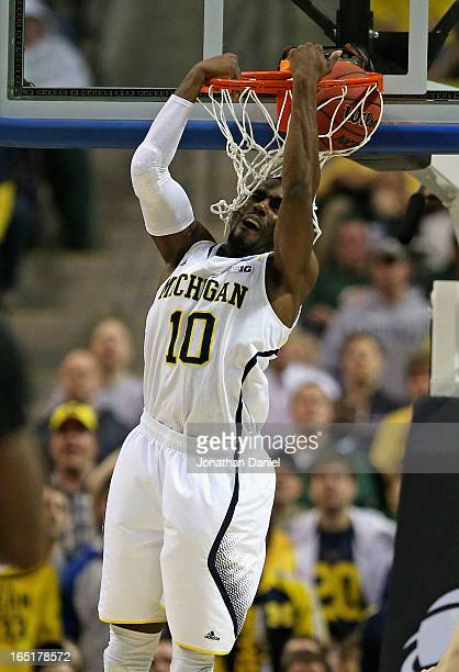Tim Hardaway Jr #10 of the Michigan Wolverines dunks against the VCU Rams during the third round of the 2013 NCAA Men's Basketball Tournament at The...