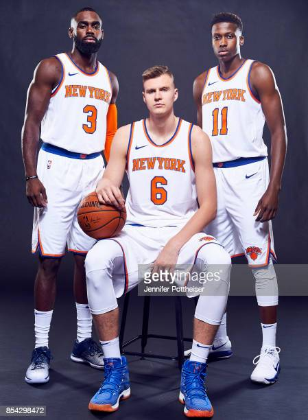 Tim Hardaway Jr #3 Kristaps Porzingis and Frank Ntilikina of the New York Knicks poses for a portrait during Media Day on September 25 2017 at Knicks...