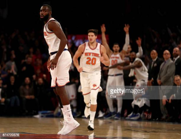 Tim Hardaway Jr #3 of the New York Knicks celebrates after he hit a three point shot in the final minutes of the game against the Utah Jazz at...