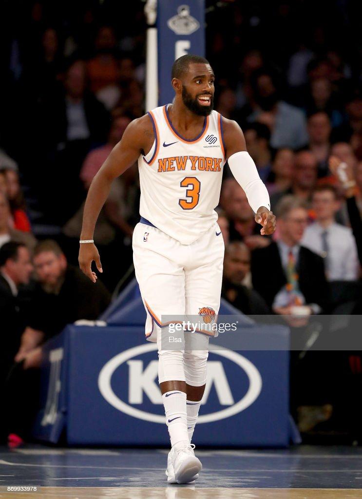 huge discount 93285 1fede Tim Hardaway Jr. #3 of the New York Knicks celebrates his ...