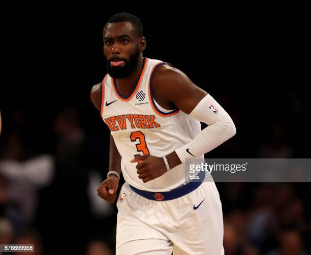 Tim Hardaway Jr #3 of the New York Knicks celebrates his basket in the first half against the Los Angeles Clippers at Madison Square Garden on...