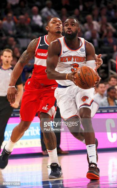 Tim Hardaway Jr #3 of the New York Knicks drives to the basket in a preseason NBA basketball game against the Washington Wizards on October 13 2017...