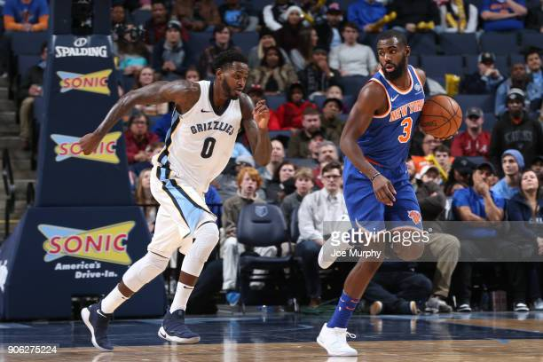 Tim Hardaway Jr #3 of the New York Knicks handles the ball against JaMychal Green of the Memphis Grizzlies on January 17 2018 at FedExForum in...
