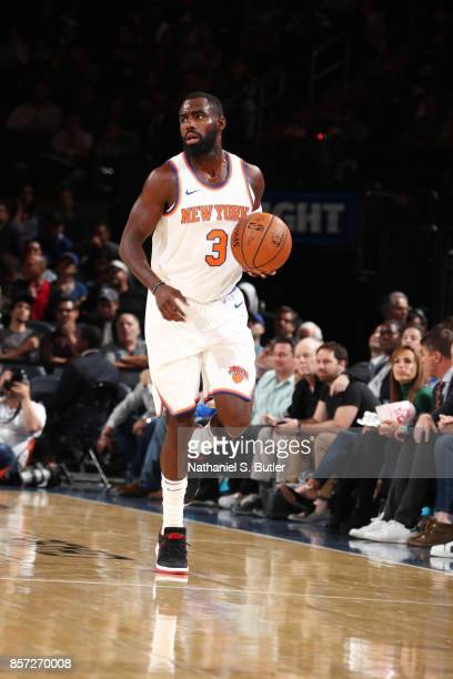 Tim Hardaway Jr #3 of the New York Knicks handles the ball against the Brooklyn Nets during the preseason game on October 3 2017 at Madison Square...