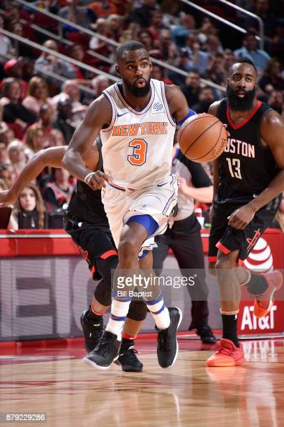 Tim Hardaway Jr #3 of the New York Knicks handles the ball against the Houston Rockets on November 25 2017 at the Toyota Center in Houston Texas NOTE...