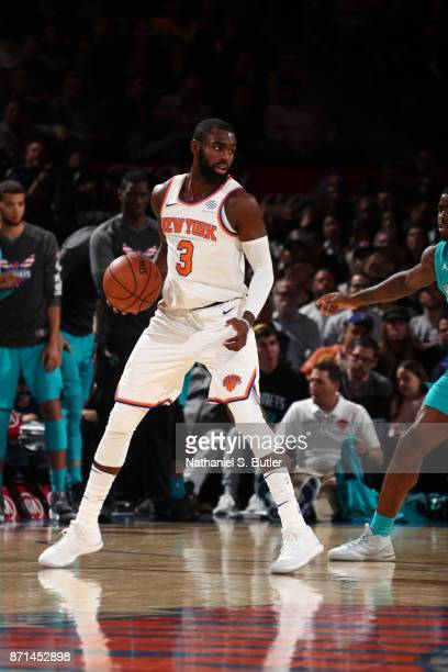 Tim Hardaway Jr #3 of the New York Knicks handles the ball during the game against the Charlotte Hornets on November 7 2017 at Madison Square Garden...