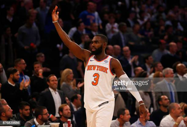 Tim Hardaway Jr #3 of the New York Knicks in action against the Cleveland Cavaliers at Madison Square Garden on November 13 2017 in New York City The...