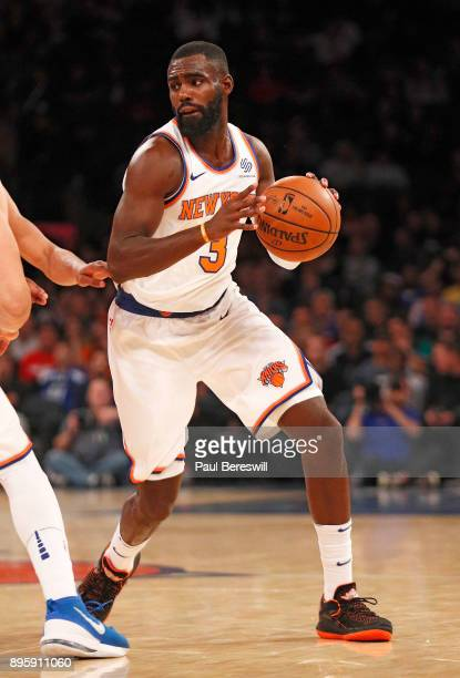 Tim Hardaway Jr #3 of the New York Knicks moves with the ball in a preseason NBA basketball game against the Washington Wizards on October 13 2017 at...