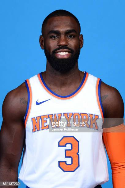 Tim Hardaway Jr #3 of the New York Knicks poses for a portrait during 2017 Media Day on September 25 2017 at the New York Knicks Practice Facility in...
