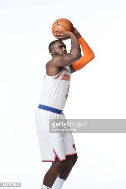 Tim Hardaway Jr #3 of the New York Knicks poses for a portrait during Media Day on September 25 2017 at the Knicks Practice Center in Tarrytown New...