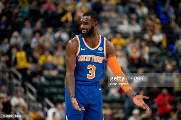 Tim Hardaway Jr #3 of the New York Knicks reacts to a call during a game against the Indiana Pacers at Bankers Life Fieldhouse on December 16 2018 in...