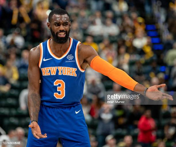 Tim Hardaway Jr #3 of the New York Knicks reacts to a call during the second half of the game against the Indiana Pacers at Bankers Life Fieldhouse...