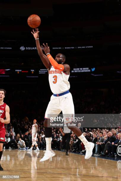 Tim Hardaway Jr #3 of the New York Knicks shoots the ball during the game against the Miami Heat on November 29 2017 at Madison Square Garden in New...