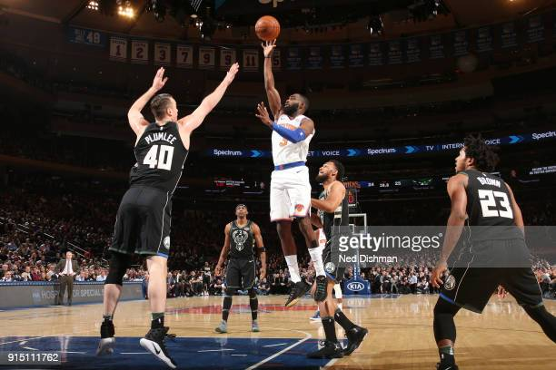 Tim Hardaway Jr #3 of the New York Knicks shoots the ball during the game against the Milwaukee Bucks on February 6 2018 at Madison Square Garden in...