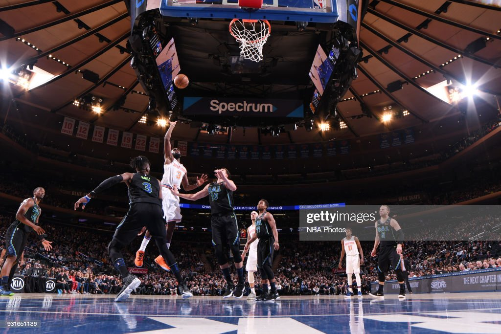 Tim Hardaway Jr. #3 of the New York Knicks shoots the ball during the game against the Dallas Mavericks on March 13, 2018 at Madison Square Garden in New York City, New York.
