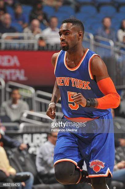 Tim Hardaway Jr #5 of the New York Knicks during the game against the Orlando Magic on February 11 2015 at Amway Center in Orlando Florida NOTE TO...