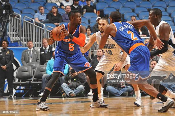Tim Hardaway Jr #5 of the New York Knicks handles the ball against the Orlando Magic on February 11 2015 at Amway Center in Orlando Florida NOTE TO...