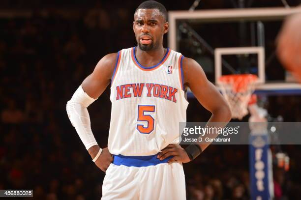 Tim Hardaway Jr #5 of the New York Knicks looks on against the Charlotte Bobcats during the game on November 5 2013 at Madison Square Garden in New...