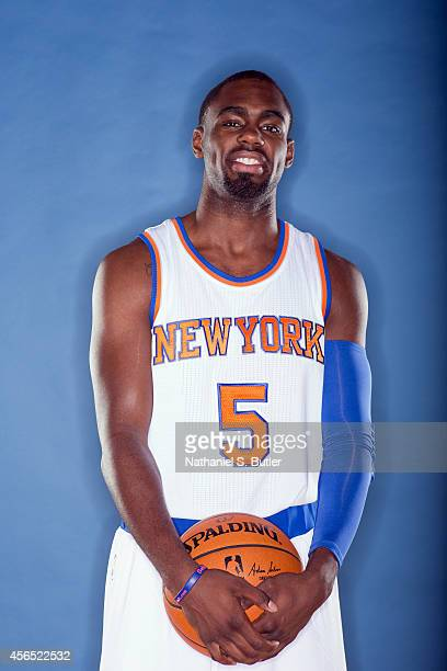 Tim Hardaway Jr #5 of the New York Knicks poses for a photo during Media Day in New York New York NOTE TO USER User expressly acknowledges and agrees...