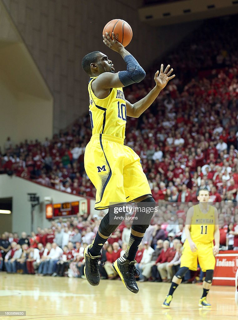 Tim Hardaway Jr #10 of the Michigan Wolverines shoots the ball during the game against the Indiana Hoosiers at Assembly Hall on February 2, 2013 in Bloomington, Indiana.