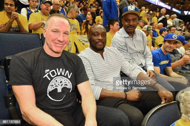 Tim Hardaway Mitch Richmond and Chris Mullin attend the game between the Houston Rockets and the Golden State Warriors during Game Three of the...