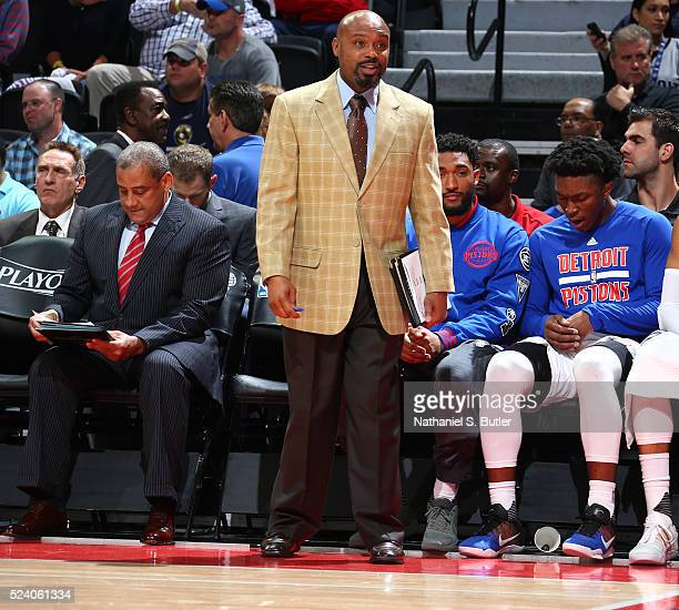 Tim Hardaway of the Detroit Pistons coaches during Game Three of the Eastern Conference Quarterfinals against the Cleveland Cavaliers during the 2016...