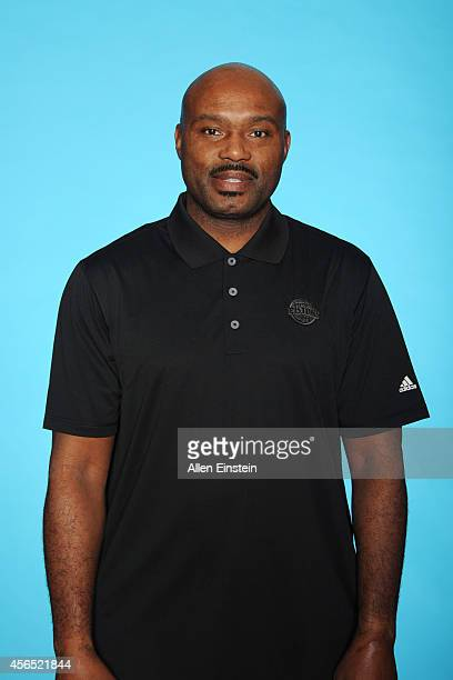 Tim Hardaway of the Detroit Pistons poses during Detroit Pistons Media Day on September 29 2014 in Auburn Hills Michigan NOTE TO USER User expressly...