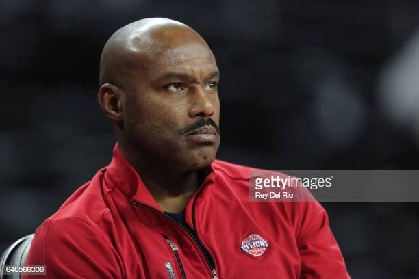 Tim Hardaway of the Detroit Pistons watches his team warm up before a game against the Atlanta Hawks at the Palace of Auburn Hills on January 18 2017...