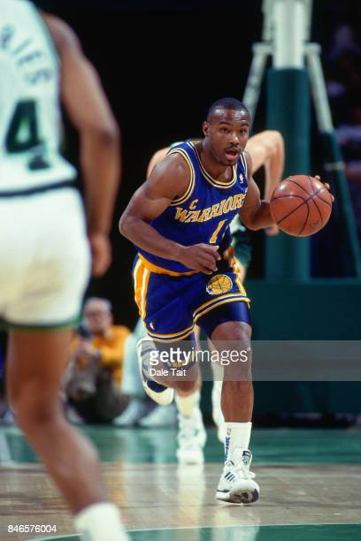 Tim Hardaway of the Golden State Warriors dribbles against the Milwaukee Bucks circa 1991 at the Bradley Center in Milwaukee Wisconsin NOTE TO USER...