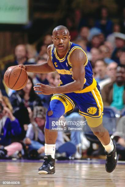 Tim Hardaway of the Golden State Warriors dribbles circa 1991 at the Great Western Forum in Inglewood California California NOTE TO USER User...