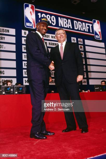 Tim Hardaway of the Golden State Warriors poses for a photo after being selected during the NBA Draft on June 27 1989 at the Felt Forum in New York...