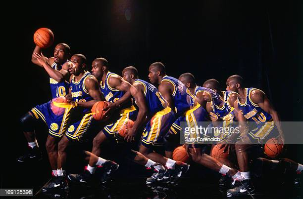 Tim Hardaway of the Golden State Warriors poses for a portrait circa 1995 at the OaklandAlameda County Coliseum Arena in Oakland California NOTE TO...