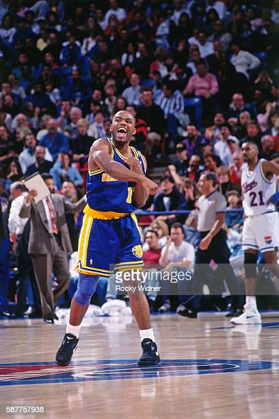 Tim Hardaway of the Golden State Warriors reacts against the Sacramento Kings circa 1993 at Arco Arena in Sacramento California NOTE TO USER User...