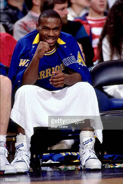 Tim Hardaway of the Golden State Warriors reacts against the Portland Trail Blazers during a game played circa 1987 at the Veterans Memorial Coliseum...