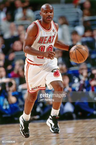 Tim Hardaway of the Miami Heat dribbles during the 1997 AllStar Game on February 9 1997 at Gund Arena in Cleveland Ohio NOTE TO USER User expressly...