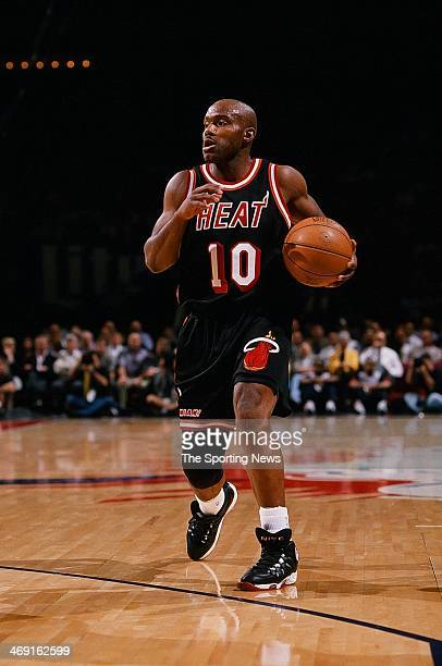 Tim Hardaway of the Miami Heat moves the ball during the game against the Houston Rockets on March 5 1998 at Compaq Center in Houston Texas