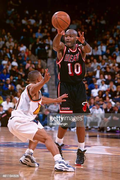 Tim Hardaway of the Miami Heat passes circa 1998 at the Arena in Oakland in Oakland California NOTE TO USER User expressly acknowledges and agrees...